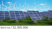 Купить «Solar panels with wind turbines on sunset summer landscape. Green energy concept.», фото № 32305006, снято 27 февраля 2020 г. (c) Maksym Yemelyanov / Фотобанк Лори