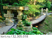 Купить «Suspension bridge in tropical garden. Arboretum of Sochi, Russia.», фото № 32305018, снято 11 мая 2015 г. (c) Арестов Андрей Павлович / Фотобанк Лори