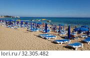 Protaras, Cyprus - Oct 12. 2019. view of the Famous Sunrise Beach. Редакционное видео, видеограф Володина Ольга / Фотобанк Лори