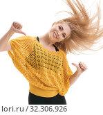 Купить «Pretty slim blonde dancing studio portrait», фото № 32306926, снято 25 сентября 2016 г. (c) Гурьянов Андрей / Фотобанк Лори