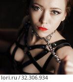 Купить «Dominatrix woman in bdsm fetish lingerie», фото № 32306934, снято 21 ноября 2016 г. (c) Гурьянов Андрей / Фотобанк Лори