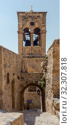 Купить «View of street fortified town Monemvasia (Laconia, Greece, Peloponnese)», фото № 32307818, снято 15 июня 2019 г. (c) Татьяна Ляпи / Фотобанк Лори