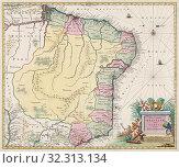 Купить «Map of Brazil, by Dutch cartographer Johannes Willemszoon Blaeu, published in Amsterdam 1662 by Pieter Schenk.», фото № 32313134, снято 1 января 2019 г. (c) age Fotostock / Фотобанк Лори