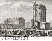 Купить «Soldiers drive away a rioting mob bent on destroying the Château de Vincennes, Paris, France, February 28, 1791.», фото № 32313218, снято 1 января 2019 г. (c) age Fotostock / Фотобанк Лори