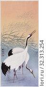 Two Cranes, a colour woodcut by Japanese artist Ohara Koson, 1877 - 1945. Стоковое фото, фотограф Classic Vision / age Fotostock / Фотобанк Лори