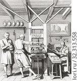 Купить «Interior of a 15th century printing press works.», фото № 32313558, снято 7 июля 2019 г. (c) age Fotostock / Фотобанк Лори