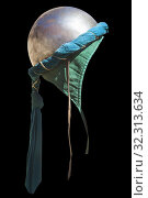 Turban hemispherical helmet, used by moorish armies during Reconquista period, 11-13th Century. Isolated. Стоковое фото, фотограф Juan García Aunión / age Fotostock / Фотобанк Лори