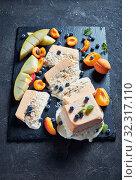 Купить «Sicilian Almond Semifreddo with apricot and melon», фото № 32317110, снято 21 июля 2019 г. (c) Oksana Zh / Фотобанк Лори