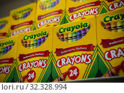 Crayola crayons are seen in the back to school supplies in a store in New York on Friday, August 2, 2019. Редакционное фото, фотограф Richard Levine / age Fotostock / Фотобанк Лори