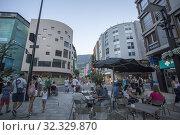 Купить «Andorra la Vella on July 25, 2019, the renovated commercial center in a summer night.», фото № 32329870, снято 25 июля 2019 г. (c) age Fotostock / Фотобанк Лори