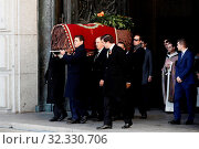 Купить «Family of Dictator attends to the Exhumation of the body of Francisco Franco at Catholic Basilica of the Valley of the Fallen on October 24, 2019 in San...», фото № 32330706, снято 24 октября 2019 г. (c) age Fotostock / Фотобанк Лори
