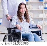 Купить «Disabled patient on wheelchair visiting doctor for regular check», фото № 32333986, снято 12 апреля 2017 г. (c) Elnur / Фотобанк Лори