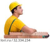 Купить «The handsome construction worker building brick wall», фото № 32334234, снято 5 ноября 2016 г. (c) Elnur / Фотобанк Лори