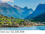 Купить «Small  houses at Olden, Norway.Olden is a village and urban area in the municipality of Stryn in Sogn og Fjordane county, Norway.», фото № 32335594, снято 10 июля 2020 г. (c) Николай Коржов / Фотобанк Лори