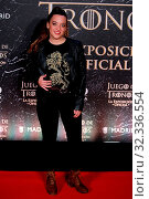 Купить «Singer Noelia Franco attend the photocall exhibition Game of Thrones..October 24, 2019 Madrid.», фото № 32336554, снято 24 октября 2019 г. (c) age Fotostock / Фотобанк Лори