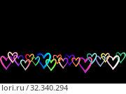 Купить «Абстрактный фон с разноцветными сердцами на черном. Поздравительная открытка с днем Святого Валентина (День влюбленных).», иллюстрация № 32340294 (c) Дорощенко Элла / Фотобанк Лори
