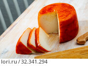 Купить «Image of goat cheese with pepper on wooden desk», фото № 32341294, снято 15 ноября 2019 г. (c) Яков Филимонов / Фотобанк Лори