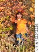 Купить «Девочка - осень», фото № 32342226, снято 26 октября 2019 г. (c) WalDeMarus / Фотобанк Лори