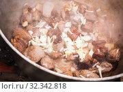 Купить «Beef and onion boiling in a cauldron», фото № 32342818, снято 23 сентября 2019 г. (c) EugeneSergeev / Фотобанк Лори