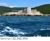 Купить «Zanitsa Monastery on an island in the Hercegnovsky Bay -part of Kotor Bay and the Mediterranean Sea. Montenegro», фото № 32342954, снято 10 июня 2019 г. (c) Володина Ольга / Фотобанк Лори