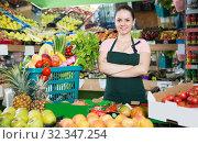 vendor with vegetables and fruits in shopping basket. Стоковое фото, фотограф Яков Филимонов / Фотобанк Лори