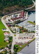 Купить «Aurland Village and Aurlandsfjord seen from Stegastein Overlook, The West Norwegian Fjords, Norway», фото № 32347666, снято 7 декабря 2019 г. (c) Николай Коржов / Фотобанк Лори