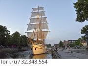 Купить «Barquentine 'Meridianas' (now accommodated for catering purposes) moored by the embankment of the Dane river, Klaipeda, port city on the Baltic Sea, Lithuania, Europe.», фото № 32348554, снято 23 июня 2019 г. (c) age Fotostock / Фотобанк Лори