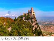 Купить «Guaita fortress in San Marino», фото № 32350826, снято 26 сентября 2019 г. (c) Коваленкова Ольга / Фотобанк Лори
