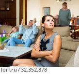 Woman upset after discord with husband and mother. Стоковое фото, фотограф Яков Филимонов / Фотобанк Лори