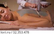 Купить «woman and cosmetologist applying clay mask in spa», видеоролик № 32353478, снято 19 октября 2019 г. (c) Syda Productions / Фотобанк Лори
