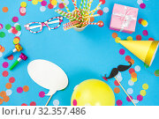 Купить «pink birthday gift and party props», фото № 32357486, снято 11 декабря 2018 г. (c) Syda Productions / Фотобанк Лори