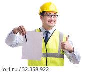 Купить «Construction supervisor with blank sheet isolated on white backg», фото № 32358922, снято 29 мая 2017 г. (c) Elnur / Фотобанк Лори