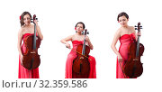 Купить «Young girl with violin on white», фото № 32359586, снято 10 мая 2013 г. (c) Elnur / Фотобанк Лори