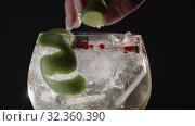 Купить «Fizzy gin drink with lime», видеоролик № 32360390, снято 4 апреля 2020 г. (c) Данил Руденко / Фотобанк Лори
