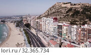 Купить «Picturesque panorama of coastal area of Spanish town of Alicante overlooking of Port», видеоролик № 32365734, снято 17 апреля 2019 г. (c) Яков Филимонов / Фотобанк Лори
