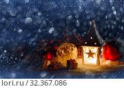 Купить «Lantern and christmas decoration», фото № 32367086, снято 19 января 2020 г. (c) Иван Михайлов / Фотобанк Лори