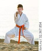 Купить «Boy doing karate poses», фото № 32367854, снято 12 июля 2017 г. (c) Яков Филимонов / Фотобанк Лори