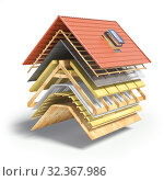 Купить «Construction of roof from ceramic tiles. Roof cover in layers isolaetd on white.», фото № 32367986, снято 8 июля 2020 г. (c) Maksym Yemelyanov / Фотобанк Лори