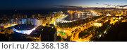Night panorama of Malaga. Стоковое фото, фотограф Яков Филимонов / Фотобанк Лори