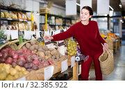 Woman chooses potatoes. Стоковое фото, фотограф Яков Филимонов / Фотобанк Лори