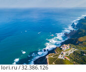 Cabo da Roca Lighthouse. Portuguese Farol de Cabo da Roca is most westerly European extent (2019 год). Стоковое фото, фотограф Яков Филимонов / Фотобанк Лори