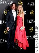 Footballer Carles Puyol and his wife Vanesa Lorenzo attend the Harper's Bazaar awards in Palacio de Santoña, Madrid (Spain).November 5, 2019.. Редакционное фото, фотограф Marcos Pergon / age Fotostock / Фотобанк Лори