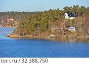Купить «Stockholm archipelago, largest archipelago in Sweden, in Baltic Sea. Sunny spring view», фото № 32388750, снято 27 марта 2018 г. (c) Валерия Попова / Фотобанк Лори