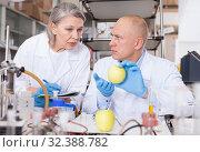 Купить «Scientists taking notes while checking agricultural products», фото № 32388782, снято 24 января 2019 г. (c) Яков Филимонов / Фотобанк Лори