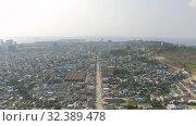 Купить «Sihanoukville city in Cambodia drone shot 4K», видеоролик № 32389478, снято 26 октября 2019 г. (c) Aleksejs Bergmanis / Фотобанк Лори