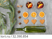 Купить «mulled wine, orange slices, gingerbread and spices», фото № 32390854, снято 4 октября 2018 г. (c) Syda Productions / Фотобанк Лори