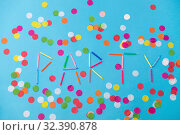 Купить «word party made of birthday candles on blue», фото № 32390878, снято 11 декабря 2018 г. (c) Syda Productions / Фотобанк Лори