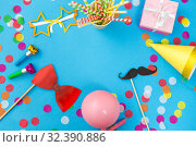 Купить «pink birthday gift and party props», фото № 32390886, снято 11 декабря 2018 г. (c) Syda Productions / Фотобанк Лори