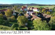 Купить «Traditional village Cakov in autumn day. Czech Republic», видеоролик № 32391114, снято 12 октября 2019 г. (c) Яков Филимонов / Фотобанк Лори