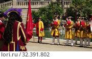 Купить «People dressed in costume at procession on the Day of Catalonia in Park de la Ciutadella», видеоролик № 32391802, снято 11 сентября 2018 г. (c) Яков Филимонов / Фотобанк Лори